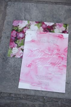 Pink watercolor wedding invitations   Anna Gleave Photography   see more on: http://burnettsboards.com/2014/05/pink-ombre-wedding-whimsical-details/ #watercolor #wedding #invitations