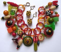 Vintage Bakelite Celluloid Wood Lucite Game Pieces Charm Bracelet and Earrings | eBay