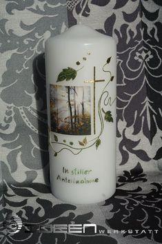 Kondullenzschreiben Trauerkarte Pillar Candles, Candles, Candle Art, Embellishments, Crafts, Taper Candles
