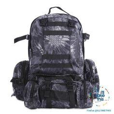fc24faf69f4ca Black Snake skin Stealth Tactical Camouflage Backpack HUGE 50L for Outdoor  Sport