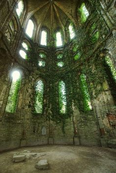 Ruins of the Abbey of Villers-la-Ville, Ivy Cathedral, Belgium. Founded in 1146, the abbey was abandoned in 1796.