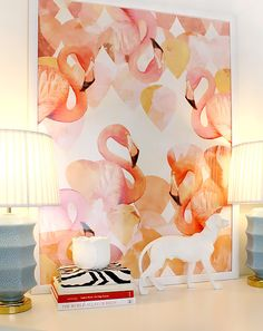 How to embrace the flamingo trend: Create a colourful centre point in your contemporary living room or bedroom with this flamingo print. The wall art features an abstract design using soft corals, deep yellows and pinks, and will look fabulous beside minimalist décor. Flamingo Mingle Giclee Graphic Art, £44.65, Wayfair. Visit housebeautiful.co.uk for more inspiration.