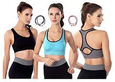 25945c840bed4 YIVEKO Women High Impact Sports Bra Racerback Padded Sports Fitness Bras  Seamless Yoga Gym Fitness Workouts