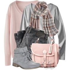 Casual Pink & Grey, created by brendariley-1 on Polyvore