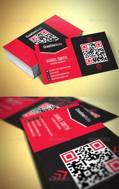 Modern Business Card #GraphicRiver Business card, designed for all kind of business. Zip File contains 2 PSD File layered, print ready CMYK at 300dpi. Size: 3.5 inc X 2 inc Free fonts used in design, details in readme.txt, you will also find instructions how to generate the QR codes. Created: 15June12 GraphicsFilesIncluded: PhotoshopPSD Layered: Yes MinimumAdobeCSVersion: CS PrintDimensions: 3.5x2 Tags: black #businesscard #dark #graphicdesigner #modern #qr #red