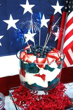 Red, White & Blue trifle for a dessert table https://www.facebook.com/BashCandyDessertBuffets?ref=hl