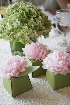 Martha Stewart Crafts favor boxes and tissue paper pom pom toppers