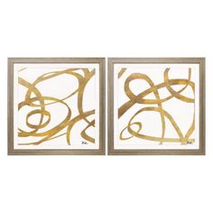 Propac Images Golden Swirls Square Framed Graphic Art - Set of 2 - 3892