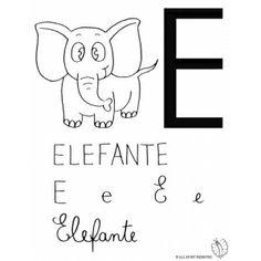 Disegno di Lettera E di Elefante da colorare