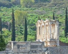 View of Library of Celsus in ancient city Ephesus , Selcuk, Turkey