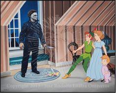 Disenchanted Disney by Rodolfo Loaiza Ontiveros - Horrorland - Peter Pan vs Michael Myers Horror Disney, Creepy Disney, Disney Films, Disney Characters, Disney Princesses, Halloween Movies, Halloween Horror, Scary Movies, Horror Movies