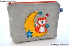 Gute Nacht Fuchs Doodle Stickdatei von KerstinBremer.de. Designbeispiel von @emilinchen ♥  Doodle fox with moon appliqué embroidery file for embroidery machines.   #sticken #fuchsliebe #mond #sterne #nähmalen