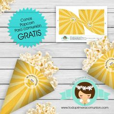 Conos popcorn comunion gratis by todoprimeracomunion Kit, Cars, Printables, Cards, First Holy Communion, Vehicles, Autos, Automobile, Car
