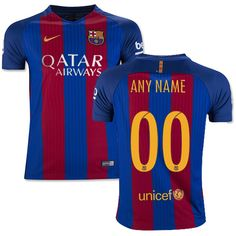 youth customized fc barcelona soccer jersey blue stripes home 16 17 la liga  club nike