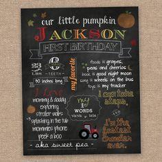 First Boy Birthday Chalkboard Poster, Sign, Fall, Custom DIY Printable on Etsy, $25.00