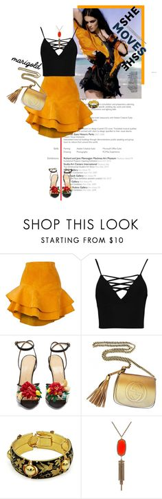 """Marigold Flamenco"" by seafreak83 on Polyvore featuring Siobhan Molloy, Boohoo, Charlotte Olympia, Gucci and Kendra Scott"