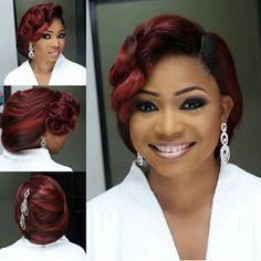 Not every time black hair, sometimes wine  #Makeup: @makeupbyashabee  #Hair: @tobbiestouch  #LoveweddingsNG