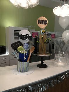 His and hers shower cake, guy shower cakes, male showers, corporate shower, company parties
