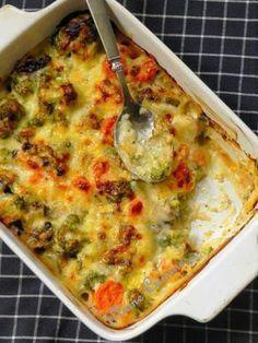 Gratin de légumes (champignons, brocolis, carottes)