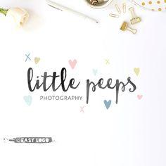 Cute Hearts Logo Design. Premade Watercolor Confetti by easylogo