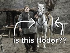 """The only question left would be why Hodor only says """"Hodor."""" But what if that's the name of Lyanna's horse?????"""