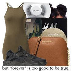 """""""..."""" by trill-queen478 ❤ liked on Polyvore featuring MAC Cosmetics, H&M, MICHAEL Michael Kors and NIKE"""