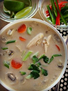 Slow Cooker Thai Chicken Soup Recipe ~ This is a delicious Thai-inspired chicken soup that simmers together in your slow cooker. Exotic flavors created by ingredients found easily in your local grocery store.