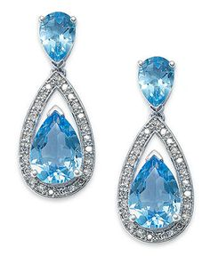 Sterling Silver Earrings, Blue Topaz (6-1/2 ct. t.w.) and Diamond (1/5 ct. t.w.) Pear Drop Earrings - Earrings - Jewelry & Watches - Macy's