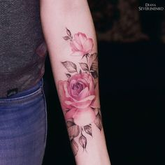 Watercolor Pink Rose Tattoo Pink Rose, my grandma loved pink roses🌹 Forearm Tattoos, Body Art Tattoos, Hand Tattoos, Small Tattoos, Sleeve Tattoos, Tattoo Arm, Mandala Tattoo, Inner Bicep Tattoo, Spine Tattoos