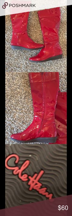 """NWOT Cole Hann red patent leather waterproof New Cole Hann boots slick Red Rain boot  10B Calf 15"""" height 17"""" from bottom of heel Cole Haan Shoes Winter & Rain Boots"""
