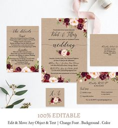 Print your own DIY Printable Wedding Invitation Suite is a great way to save money, and with our FULLY EDITABLE design, you'll get the exact look you want with your invitations and lots of compliments on them! We offer the BEST EDITABLE TEMPLATE ONLINE! All our templates are Kraft Wedding Invitations, Rustic Invitations, Floral Wedding Invitations, Wedding Stationery, Hobby Lobby Wedding Invitations, Invitations Online, Before Wedding, Diy Wedding, Rustic Wedding