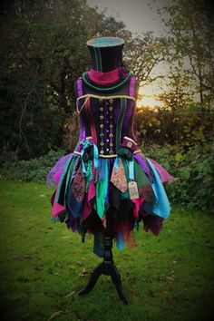 Mad Hatter costume - skirt, hat, corset and wrist cuffs. Hand made by Faerie In The Foxglove.