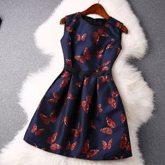 2015 European Butterfly Jacquard Serging Round Collar Sleeveless Dresses on Luul Best Prom Dresses, Dresses For Teens, Cute Dresses, Beautiful Dresses, Cute Outfits, Luulla Dresses, Butterfly Dress, Jacquard Dress, All About Fashion