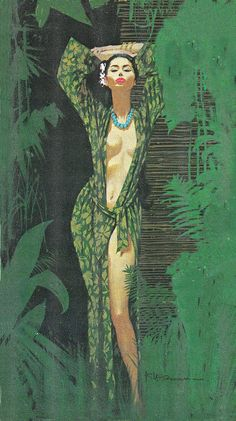 Robert McGinnis (born is an American artist and illustrator. McGinnis is known for his illustrations of over 1200 paperback book covers, and over 40 movie posters, including Breakfast at Tiffanys, Barbarella, and several James Bond's. Robert Mcginnis, Comics Vintage, Vintage Art, Gravure Illustration, Illustration Art, Cover Art, Pulp Fiction Kunst, Serpieri, Arte Pop