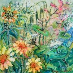 """Greek spring flowers. Acrylics on canvas 40cm x 40cm 16""""x16"""" 180 can ship to anywhere. DM me to buy."""