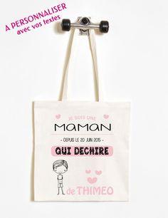 Un sac shopping (Tote Bag) personnalisé pour une femme qui déchire ! Tous les textes sont à personnaliser ainsi que le dessin (fille ou garçon) - à partir de 15,90€