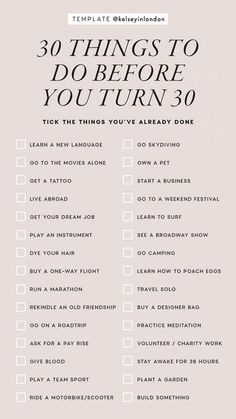 30 things to do before you're 30 Instagram Story Template