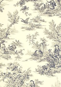 """Blue and Cream """"Fall Harvest"""" Toile  Wallpaper"""
