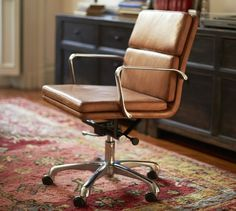 If I had to have a desk chair and my midcentury choices weren't available, this is what I'd want. Nash Leather Swivel Desk Chair | Pottery Barn