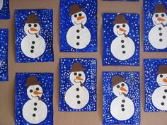 In der Winternacht . Preschool Christmas Crafts, Winter Crafts For Kids, Snowman Crafts, Winter Kids, Christmas Decorations To Make, Christmas Art, Finger Painting For Kids, Creative Activities For Kids, Easy Paper Crafts
