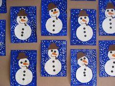 In der Winternacht . Preschool Christmas Crafts, Snowman Crafts, Winter Kids, Christmas Crafts For Kids, Christmas Decorations To Make, Christmas Art, Finger Painting For Kids, Winter Thema, Penguin Craft