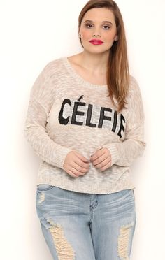 Deb Shops long sleeve celfie cropped sweater with black letters $14.25