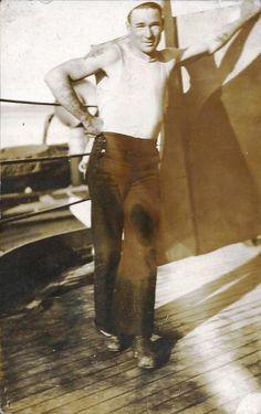 USS New York, Howard E Willis' navy buddy E. May, aboard the USS New York in Seattle Washington, June 1923