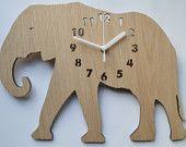 Laser cut clock wooden clock elephant clock by DomusDecorClocks Clock For Kids, Wooden Clock, Zoo Animals, Wooden Toys, Kids Room, Elephant, Room Decor, Woodworking, Creative