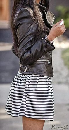 BLACK & WHITE OUTFIT~ Leather Jacket+Striped Skirt