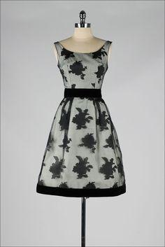 vintage 1950s dress . sheer black floral . by millstreetvintage