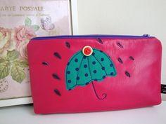Leather Make up bag - Pencil case - appliquéd . £9.95