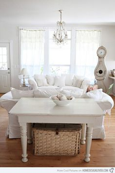 Check Out 25 Charming Shabby Chic Living Room Designs. Shabby chic style is so special because it's gorgeous yet very relaxed, so you can turn your living room in a very inviting and soft-looking space using this style. Salon Shabby Chic, Shabby Chic Decor Living Room, Shabby Chic Stil, Shabby Chic Bedrooms, Shabby Chic Kitchen, Shabby Chic Homes, Shabby Chic Furniture, White Furniture, Find Furniture