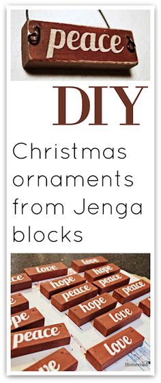 Wooden Jenga Christmas Ornaments That Are Easy To Make Homeroad Happy New Year Picture Christmas Ornaments, Christmas Craft Fair, White Christmas Trees, Christmas Wood, Vintage Christmas Ornaments, Handmade Christmas, Christmas Mantles, Victorian Christmas, Christmas Time