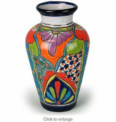 Curvy Talavera Mexican Pottery Vase